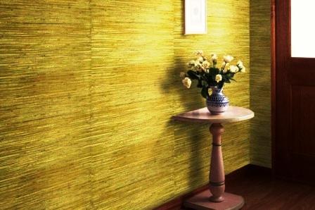 Дизайн интерьера прихожей с бамбуковыми обоями