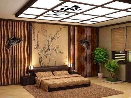Бамбуковые обои в интерьере спальни в восточном стиле