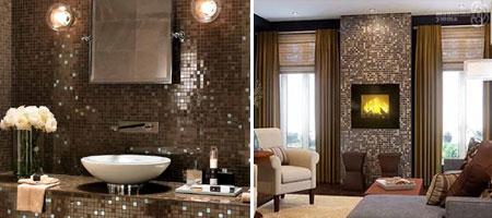Использование мозаичной плитки способствует созданию изысканного интерьера в различных помещениях