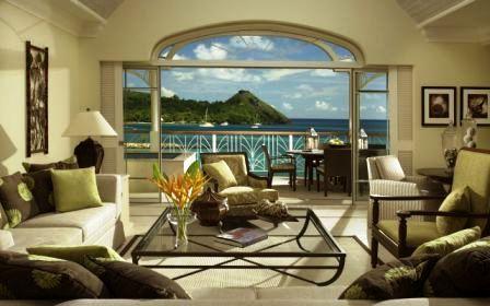 фотообои с видом из окна на море в разных комнатах