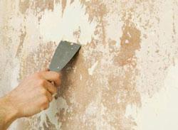 Произвести шпатылем полную очистку стены от остатков обоев