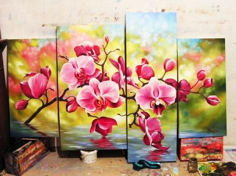 Модульная картина, написанная маслом, является сложным, точным и элегантным произведением изобразительного искусства