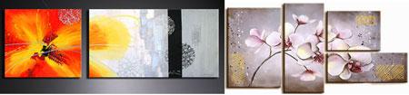 Модульная картина, написанная акрилом на холсте, отличается блестящей поверхностью и уникальностью цветовой гаммы