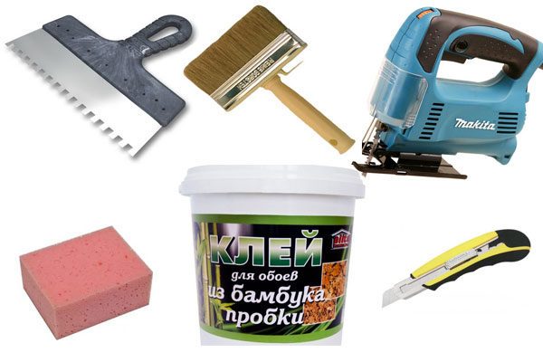 Инструменты которые понадобятся для наклеивания бамбуковых обоев