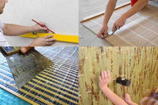 приклеить бамбуковые обои к стене