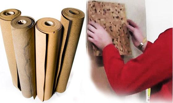 Пробковая подложка в виде рулонов и плитки