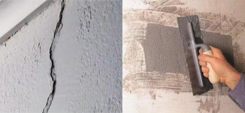 Отремонтировать мелкие, неглубокие трещин просто, сняв старую штукатурку и заштукатурив трещины цементным раствором