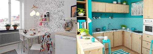 Идеи поклейки виниловых обоев на кухне: сочетание с плиткой, создание красивой стены в поле зрения